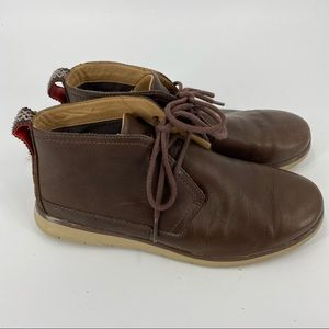 UGG brown leather lace up ankle shoes
